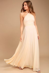 Dance of the Elements Pale Peach Maxi Dress