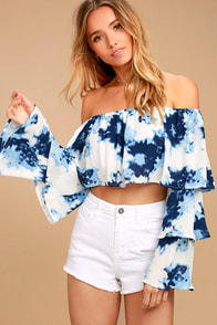 Satisfaction Blue and White Print Off-the-Shoulder Crop Top