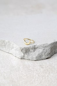Crescent From Above Gold Ring