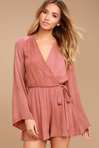 PPLA Pilar Rusty Rose Long Sleeve Romper at Lulus.com!