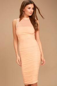Give Me a Chance Peach Bodycon Midi Dress