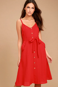 Free and Pier Red Belted Dress