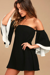 Dress for Success Black Off-the-Shoulder Mini Dress