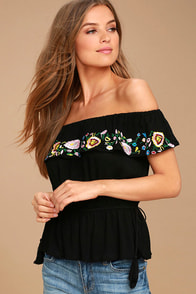 Catch My Eye Black Embroidered Off-the-Shoulder Top