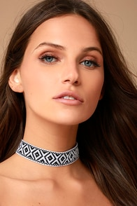 Panama Black Embroidered Choker Necklace