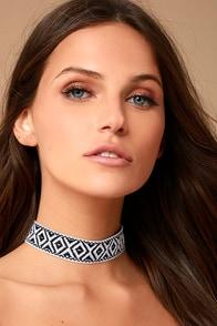 Panama Black Embroidered Choker Necklace