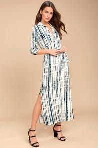 Agate Beach Blue and White Tie-Dye Midi Dress