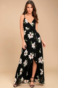 All Mine Black Floral Print High-Low Wrap Dress