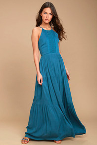 For Life Teal Blue Embroidered Maxi Dress