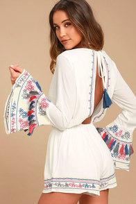 Island of Capri White Embroidered Long Sleeve Romper