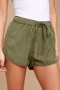 Meet at the Beach Olive Green Shorts