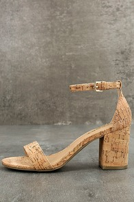 Report Pamela Natural Cork Ankle Strap Heels