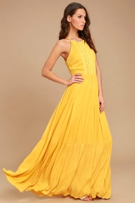 For Life Golden Yellow Embroidered Maxi Dress