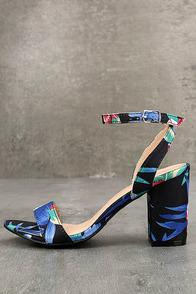 Chilali Black Print Ankle Strap Heels
