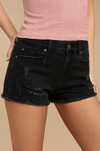 Delightful Daydream Washed Black Distressed Denim Shorts