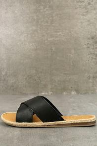 Koren Black Espadrille Slide Sandals