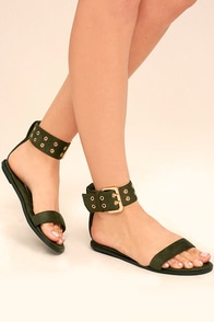 Lareen Olive Green Suede Flat Sandals