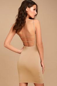 Who Do You Love? Beige Bodycon Dress