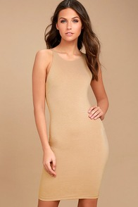 Essential Spice Taupe Bodycon Dress
