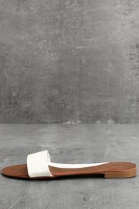 Nori White Slide Sandals