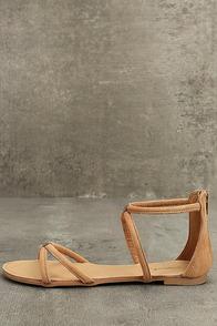 Brietta Tan Suede Flat Sandals