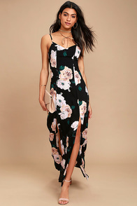 Peony For Your Thoughts Black Floral Print Maxi Dress