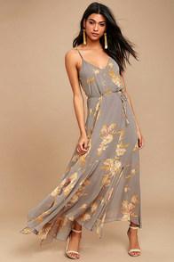 Lovely Navy Blue Floral Print Dress Maxi Dress Lace Up