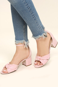 Lalita Peach Suede Ankle Strap Heels