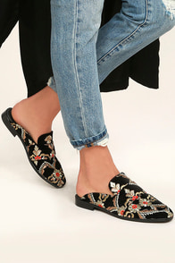 Free People Brocade At Ease Black Embroidered Loafer Slides