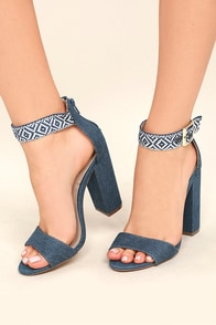 Cybele Denim Embroidered Ankle Strap Heels