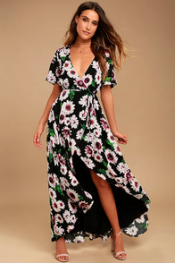 Flower Market Black Floral Print High-Low Wrap Dress