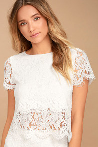 Heartbeats White Lace Crop Top at Lulus.com!