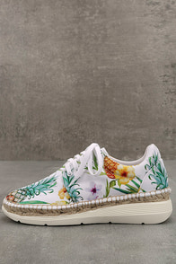 Free People Jackson White Tropical Print Espadrille Sneakers