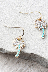 Palms of Paradise Blue and Gold Rhinestone Earrings