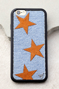 Wildflower Star Vintage Denim and Tan iPhone 6 and 6s Case