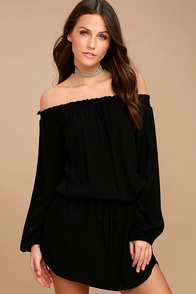 Lucy Love West Indies Black Off-the-Shoulder Dress