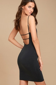 Who Do You Love? Washed Black Bodycon Dress