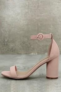 Elettra Blush Nubuck Ankle Strap Heels