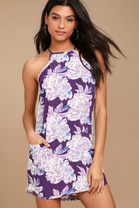 Lucy Love Mulhulland Drive Purple Floral Print Shift Dress