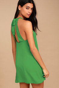 Breezy Street Green Halter Dress