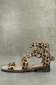 Diba True Dizzy Lizzy Leopard Pony Fur Sandals