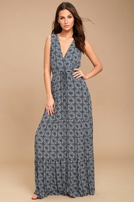 Artisan Market Navy Blue Print Maxi Dress