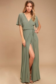 Much Obliged Washed Olive Green Wrap Maxi Dress