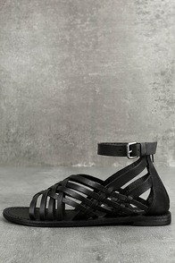 Rebels Trinity Black Leather Gladiator Sandals