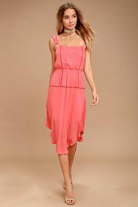 Himalayan Breeze Coral Pink Embroidered Midi Dress
