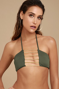 Blue Life Bamboo Olive Green Bikini Top