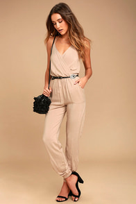 Learning To Fly Beige Jumpsuit at Lulus.com!