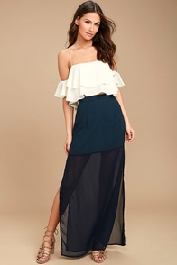Kamaria Navy Blue Maxi Skirt