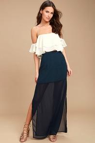 Kamaria Navy Blue Maxi Skirt