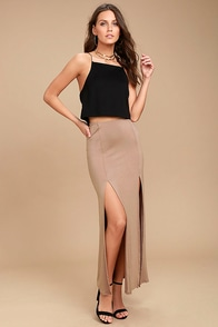 Come on Over Light Brown Maxi Skirt